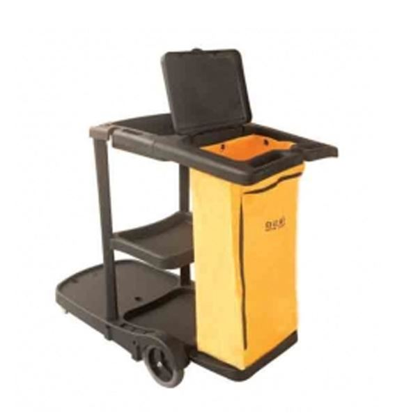 PLASTIC DUAL CLEANING CART INCLUDING BAG x1 YELLOW